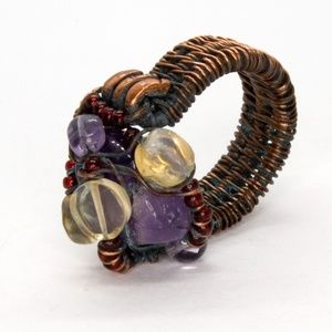 Jewelry - Unique Amethyst Copper Ring, Steampunk Size 6 1/2